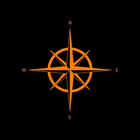 Wind rose sign. Orange icon on black background. Old phosphor monitor. CRT.