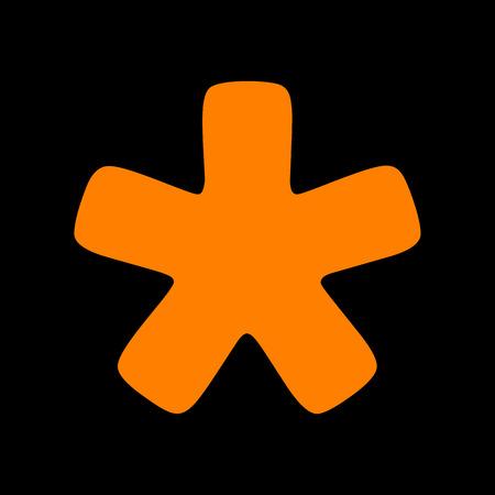 Asterisk star sign. Orange icon on black background. Old phosphor monitor. CRT. Иллюстрация