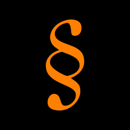 Paragraph sign illustration. Orange icon on black background. Old phosphor monitor. CRT. Imagens - 73035243