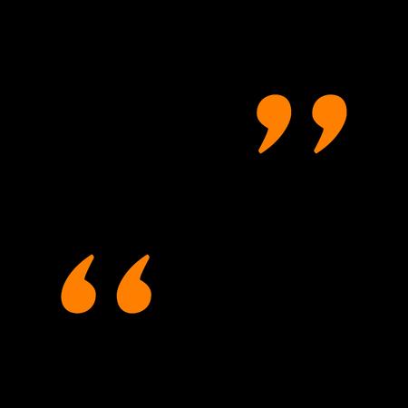 Quote sign illustration. Orange icon on black background. Old phosphor monitor. CRT.