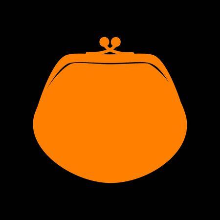 Purse sign illustration. Orange icon on black background. Old phosphor monitor. CRT.