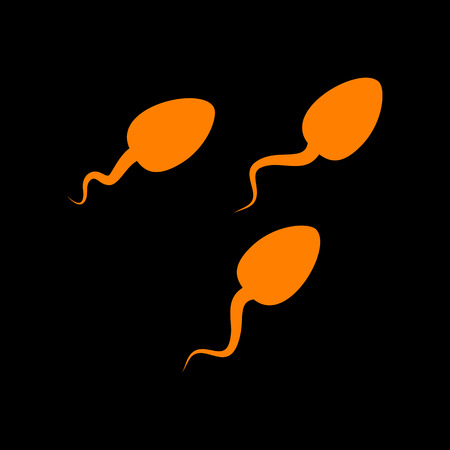 Sperms sign illustration. Orange icon on black background. Old phosphor monitor. CRT. Imagens - 73035246