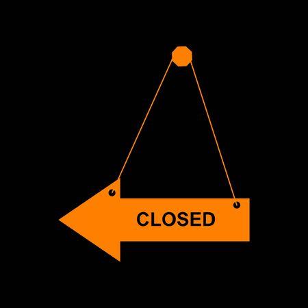 Closed sign illustration. Orange icon on black background. Old phosphor monitor. CRT. Imagens - 73035395