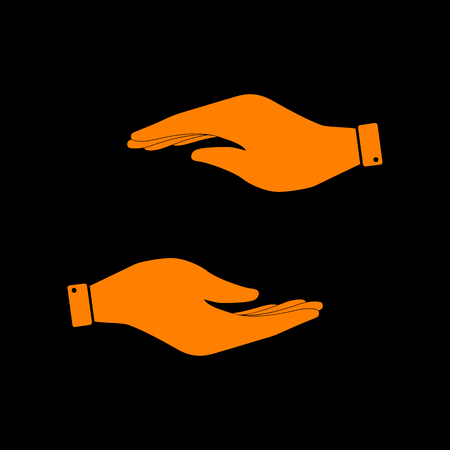 Hand sign illustration. Orange icon on black background. Old phosphor monitor. CRT.