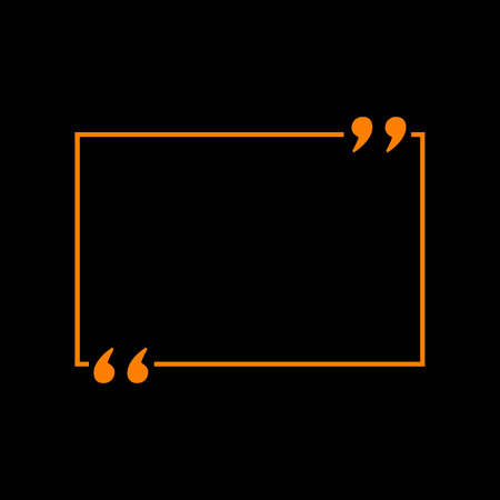 Text quote sign. Orange icon on black background. Old phosphor monitor. CRT. Illustration
