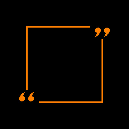 Text quote sign. Orange icon on black background. Old phosphor monitor. CRT. Imagens - 73034932