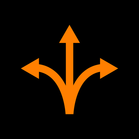 Three-way direction arrow sign. Orange icon on black background. Old phosphor monitor. CRT.
