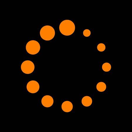 Circular loading sign. Orange icon on black background. Old phosphor monitor. CRT. Illustration