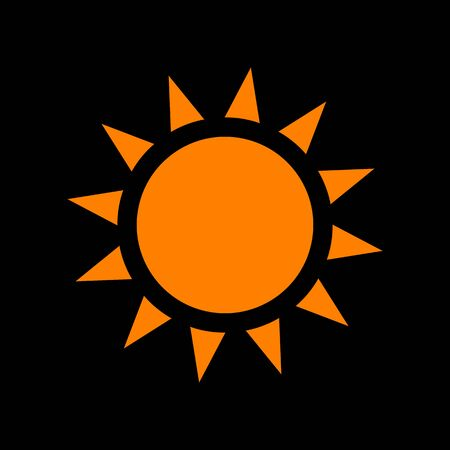 Sun sign illustration. Orange icon on black background. Old phosphor monitor. CRT.