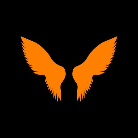 Wings sign illustration. Orange icon on black background. Old phosphor monitor. CRT.
