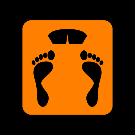 Bathroom scale sign. Orange icon on black background. Old phosphor monitor. CRT. Imagens - 73047412