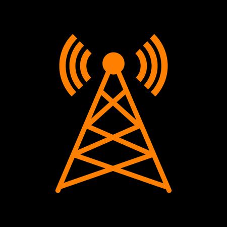 Antenna sign illustration. Orange icon on black background. Old phosphor monitor. CRT. Imagens - 73035236