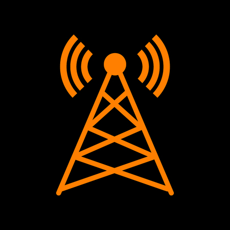 Antenna sign illustration. Orange icon on black background. Old phosphor monitor. CRT.
