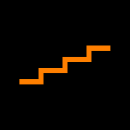 Stair up sign. Orange icon on black background. Old phosphor monitor. CRT. Imagens - 73034807