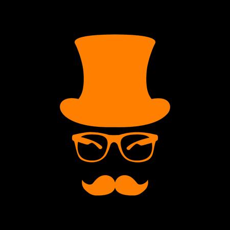 crt: Hipster accessories design. Orange icon on black background. Old phosphor monitor. CRT. Illustration