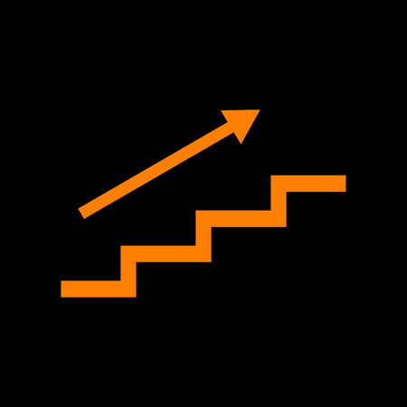 Stair with arrow. Orange icon on black background. Old phosphor monitor. CRT. Imagens - 73035234