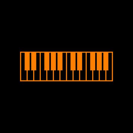 Piano Keyboard sign. Orange icon on black background. Old phosphor monitor. CRT. Imagens - 73034820