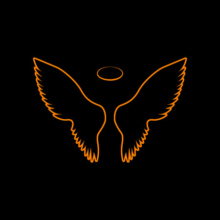 Wings sign illustration. Orange icon on black background. Old phosphor monitor. CRT.