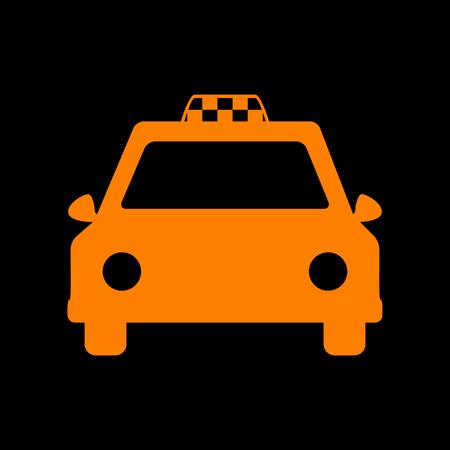 crt: Taxi sign illustration. Orange icon on black background. Old phosphor monitor. CRT.