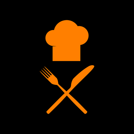 Chef with knife and fork sign. Orange icon on black background. Old phosphor monitor. CRT. Imagens - 73034812