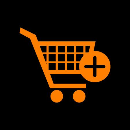 Shopping Cart with add Mark sign. Orange icon on black background. Old phosphor monitor. CRT. Ilustração