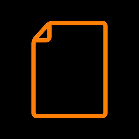 Vertical document sign illustration. Orange icon on black background. Old phosphor monitor. CRT. Ilustração