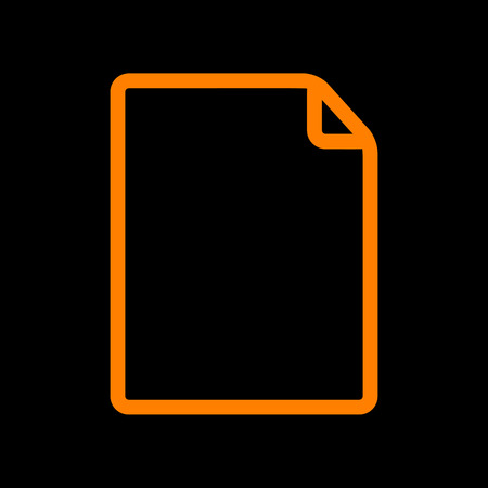 Vertical document sign illustration. Orange icon on black background. Old phosphor monitor. CRT. Imagens - 73034925