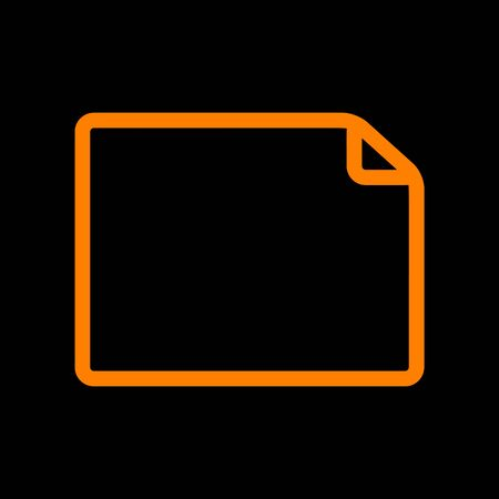 Horisontal document sign illustration. Orange icon on black background. Old phosphor monitor. CRT. Ilustração