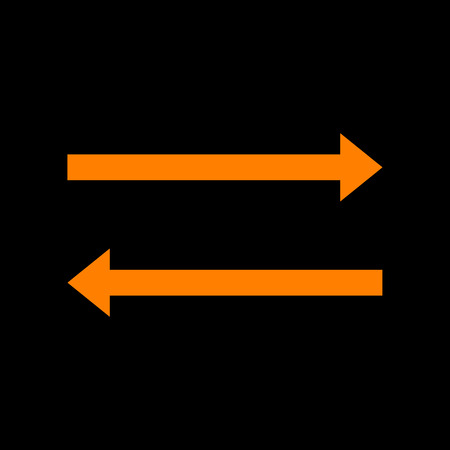 Arrow simple sign. Orange icon on black background. Old phosphor monitor. CRT. Ilustração
