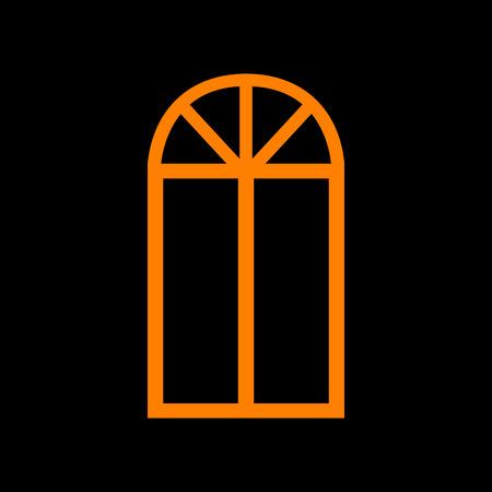 Window simple sign. Orange icon on black background. Old phosphor monitor. CRT.