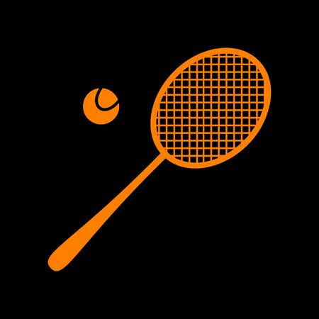 Tennis racquet sign. Orange icon on black background. Old phosphor monitor. CRT.