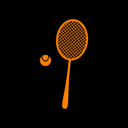 Tennis racquet sign. Orange icon on black background. Old phosphor monitor. CRT. Ilustração