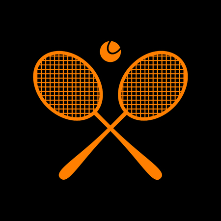 Tennis racket sign. Orange icon on black background. Old phosphor monitor. CRT. Ilustração