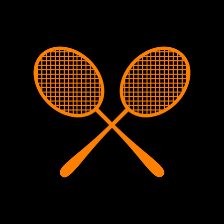 Tennis racquets sign. Orange icon on black background. Old phosphor monitor. CRT.