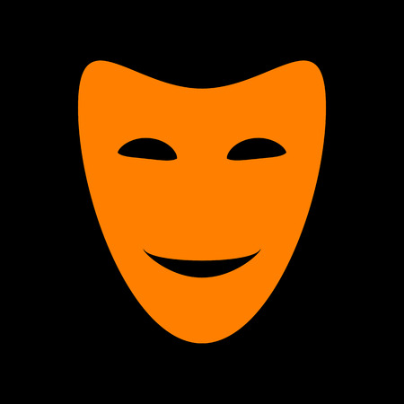 Comedy theatrical masks. Orange icon on black background. Old phosphor monitor. CRT. Ilustração