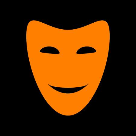 crt: Comedy theatrical masks. Orange icon on black background. Old phosphor monitor. CRT. Illustration
