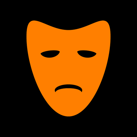 Tragedy theatrical masks. Orange icon on black background. Old phosphor monitor. CRT. Ilustração