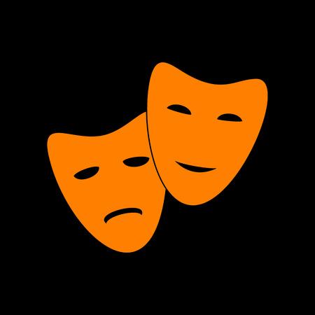 crt: Theater icon with happy and sad masks. Orange icon on black background. Old phosphor monitor. CRT.