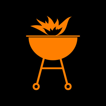 Barbecue with fire sign. Orange icon on black background. Old phosphor monitor. CRT. Illustration