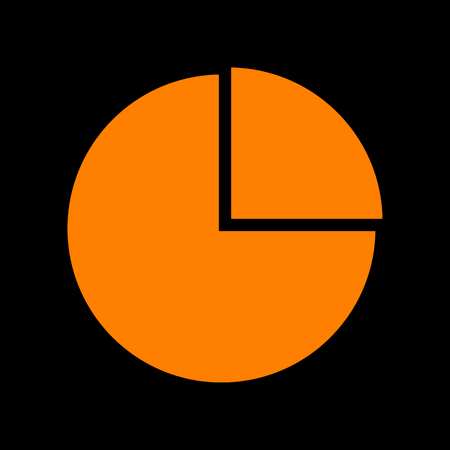 Business graph sign. Orange icon on black background. Old phosphor monitor. CRT.