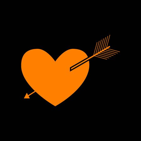Arrow heart sign. Orange icon on black background. Old phosphor monitor. CRT.