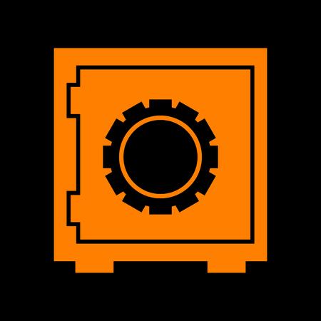 Safe sign illustration. Orange icon on black background. Old phosphor monitor. CRT.