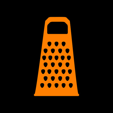 Cheese grater sign. Orange icon on black background. Old phosphor monitor. CRT.