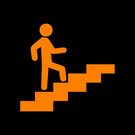 Man on Stairs going up. Orange icon on black background. Old phosphor monitor. CRT.