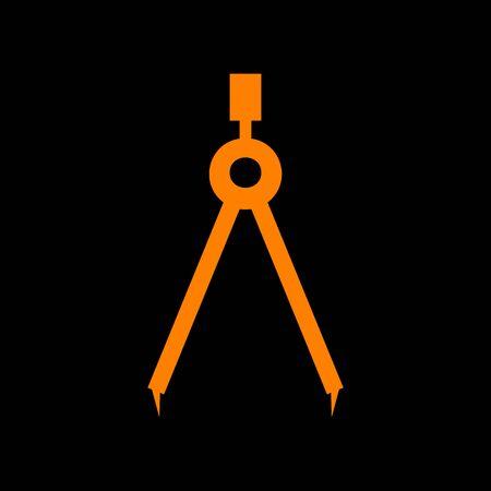 Divider simple sign. Orange icon on black background. Old phosphor monitor. CRT. Imagens - 73034193