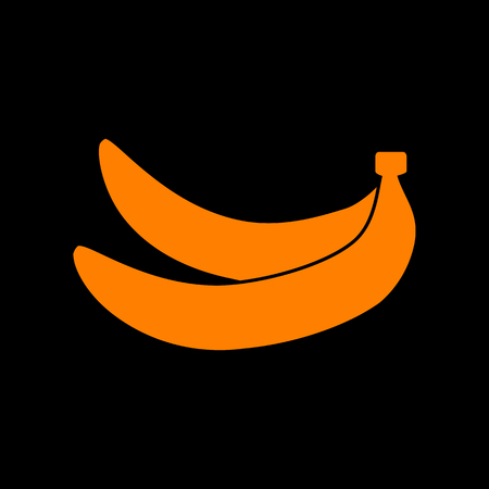 Banana simple sign. Orange icon on black background. Old phosphor monitor. CRT.
