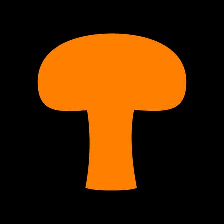 Mushroom simple sign. Orange icon on black background. Old phosphor monitor. CRT. Ilustração