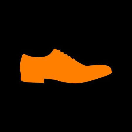 Men Shoes sign. Orange icon on black background. Old phosphor monitor. CRT. Ilustração
