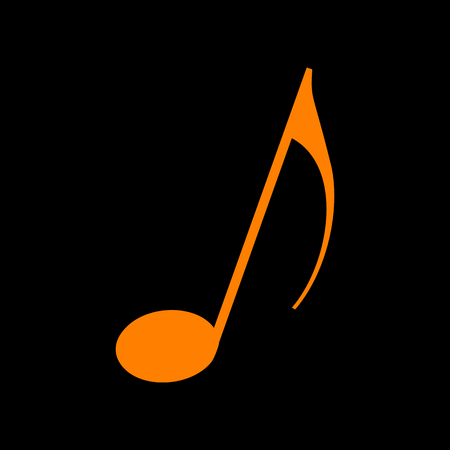 Music note sign. Orange icon on black background. Old phosphor monitor. CRT.