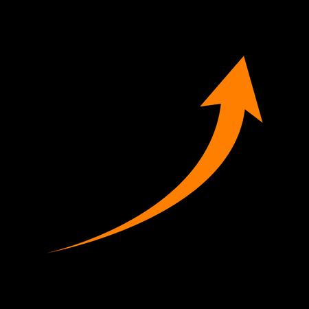 Growing arrow sign. Orange icon on black background. Old phosphor monitor. CRT.